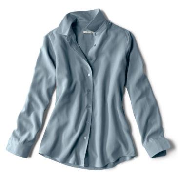 Long-Sleeved Everyday Silk Shirt - DUSTY BLUE