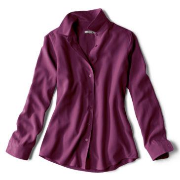 Long-Sleeved Everyday Silk Shirt - BLACKBERRY