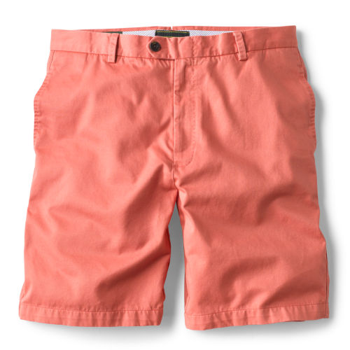 A pair of salmon-pink shorts.