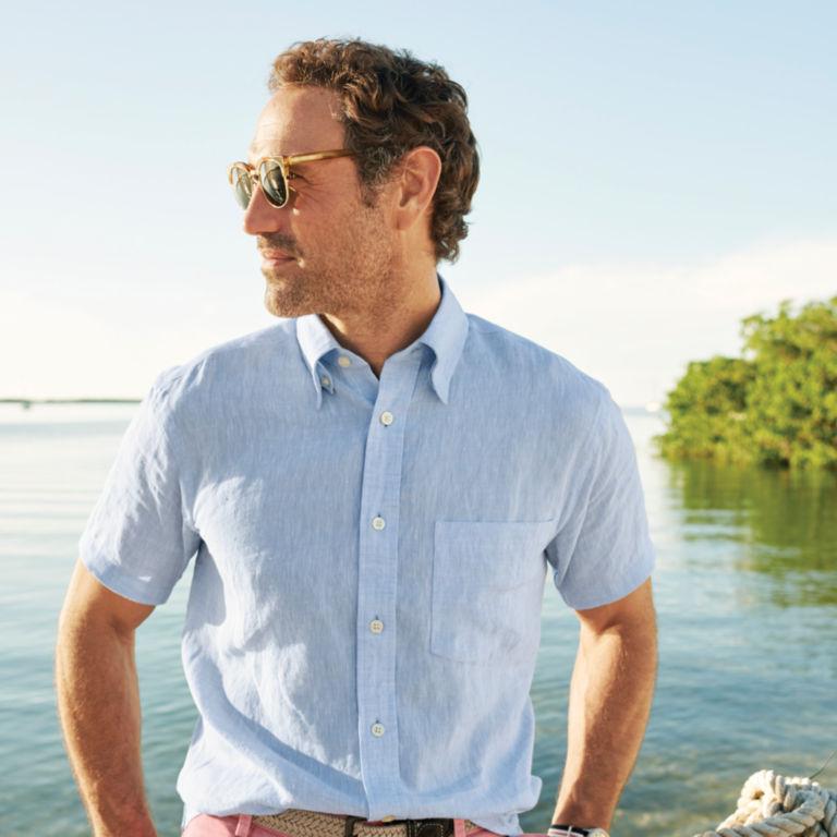 Pure Linen Short-Sleeved Shirt -  image number 1