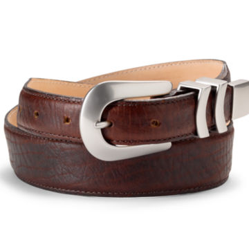 Bison Tapered-Edge Belt with Silver Buckle - BROWNimage number 1