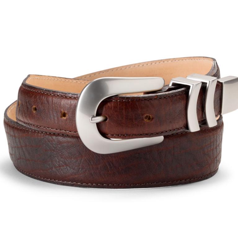 Bison Tapered-Edge Belt with Silver Buckle - BROWN image number 1