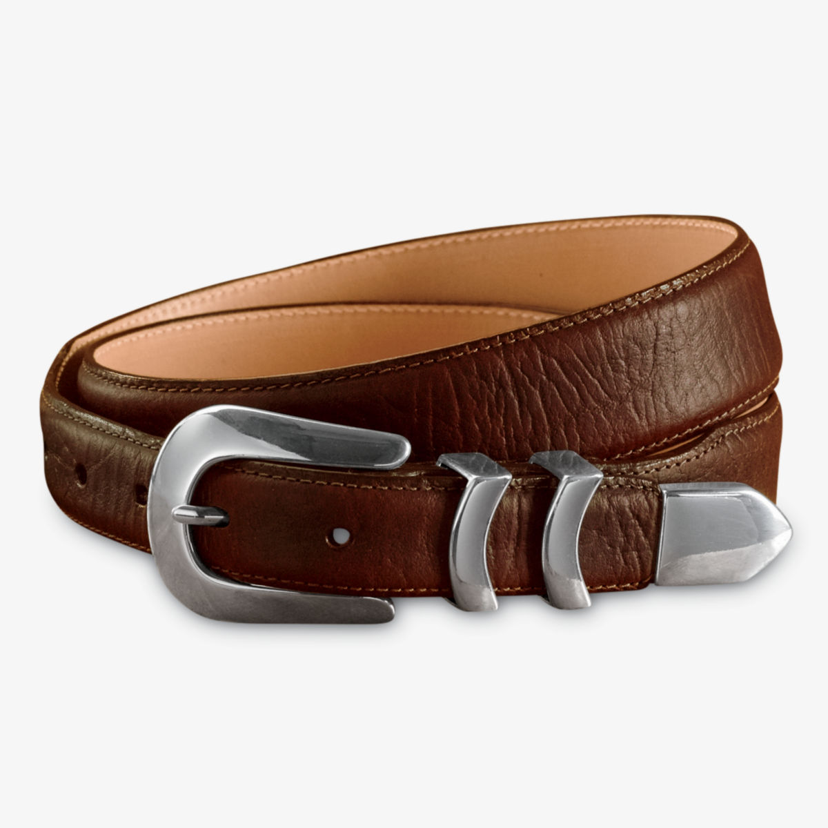 Bison Tapered-Edge Belt with Silver Buckle - BROWNimage number 0