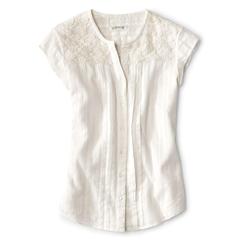 Lace-Yoke Cap-Sleeved Shirt - PEARL image number 3
