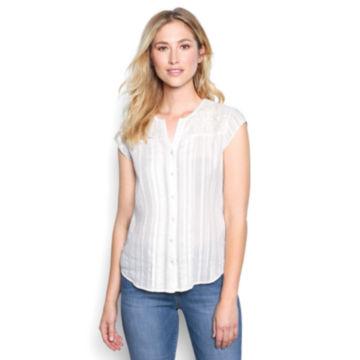 Lace-Yoke Cap-Sleeved Shirt - PEARL image number 0