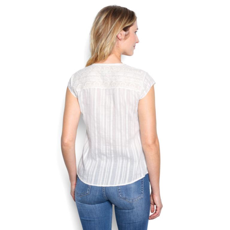 Lace-Yoke Cap-Sleeved Shirt - PEARL image number 1