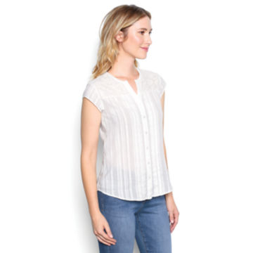 Lace-Yoke Cap-Sleeved Shirt - PEARL image number 2