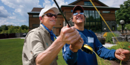 An Orvis customer learning to cast a fly rod