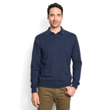 Cotton/Silk/Cashmere Long-Sleeved Polo -  image number 1