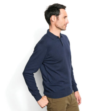 Cotton/Silk/Cashmere Long-Sleeved Polo -  image number 2