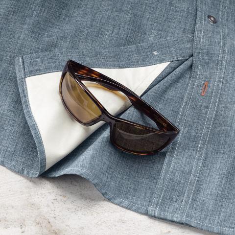 Men's Tech Chambray Work Shirt sunglass wipe detail.