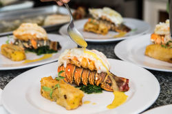 A plate with lobster tail