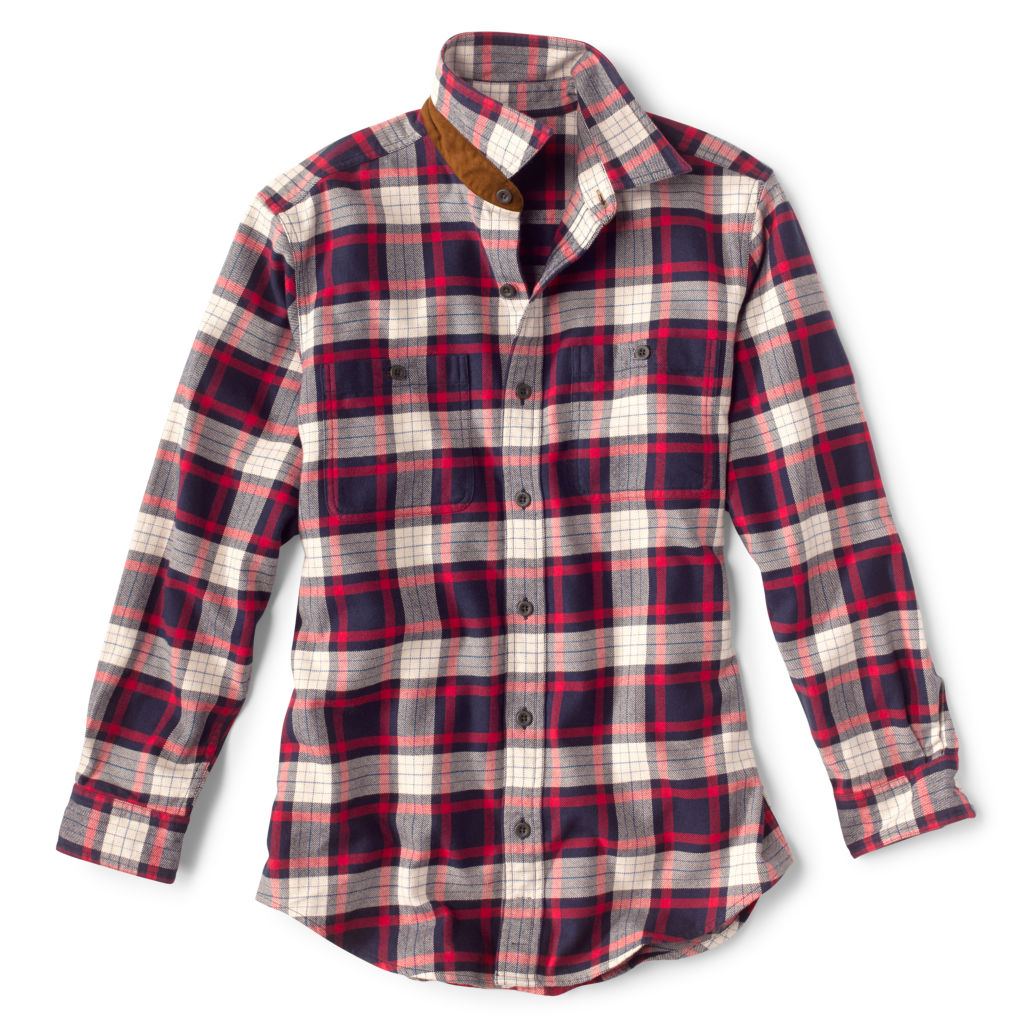 Men's Perfect Flannel shirt in navy & red.