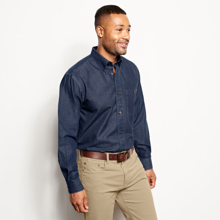 Wrinkle-Free Pure Cotton Denim Shirt -  image number 2