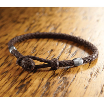 Braided-Leather Bracelet with Beads -  image number 0