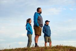 Three people on a hike