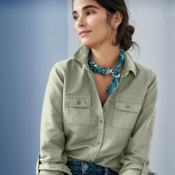 Linen/Cotton Garment-Dyed Camp Shirt -  image number 1