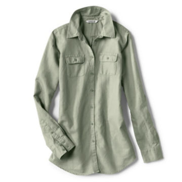 Linen/Cotton Garment-Dyed Camp Shirt -  image number 0