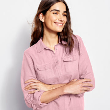 Linen/Cotton Garment-Dyed Camp Shirt -  image number 3