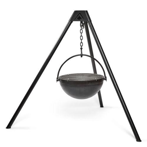 hanging iron cauldron