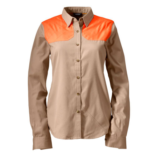 A women's hunting shirt in tan and safety orange