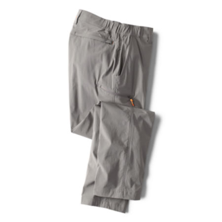 pair of gray pants on white background