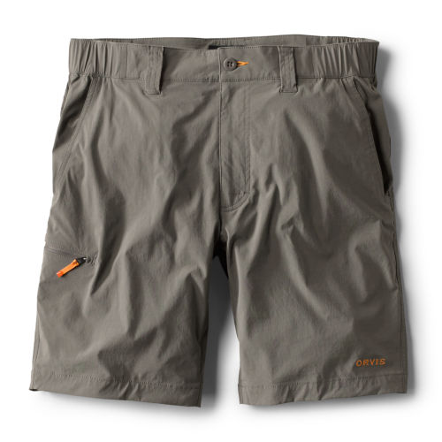 A pair of grey shorts with a bright orange zip-pull on the side