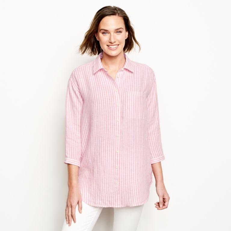 Lightweight Linen Striped Big Shirt -  image number 0
