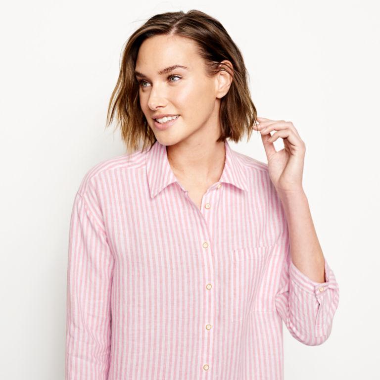 Lightweight Linen Striped Big Shirt -  image number 3