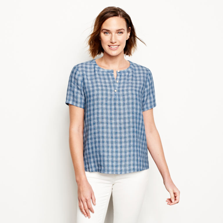 Plaid Lightweight Linen Short-Sleeved Sweetwater®  Popover - BLUE/WHITE image number 1