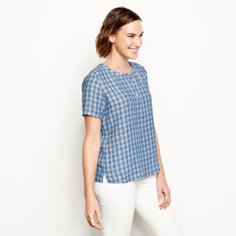 Plaid Lightweight Linen Short-Sleeved Sweetwater®  Popover - BLUE/WHITE image number 2