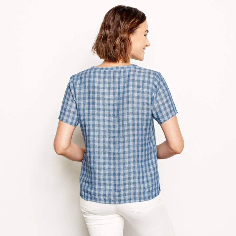 Plaid Lightweight Linen Short-Sleeved Sweetwater®  Popover - BLUE/WHITE image number 3