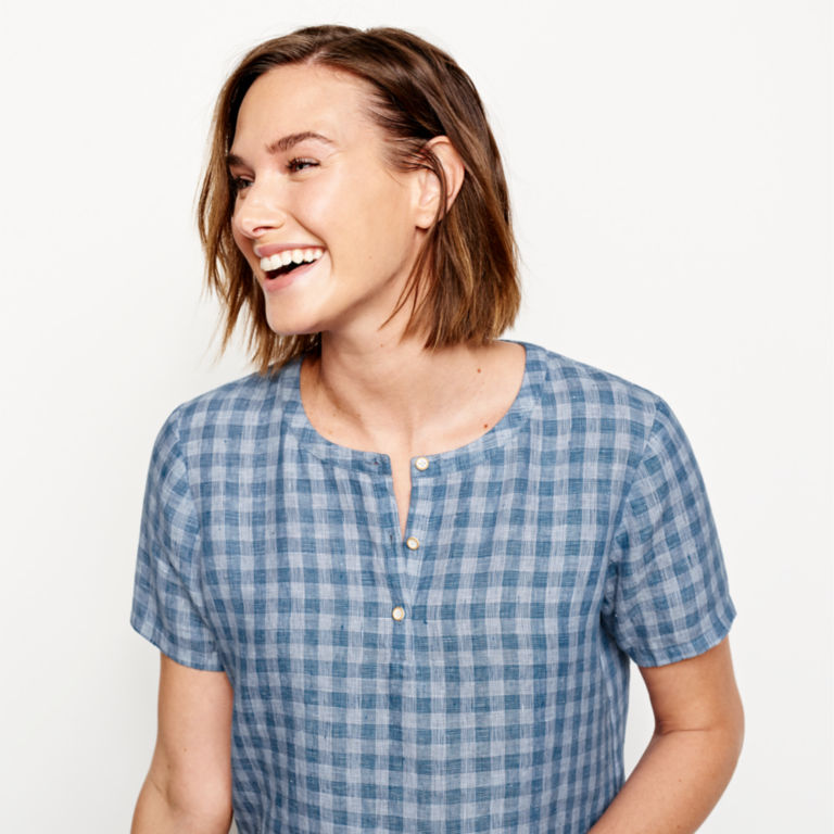 Plaid Lightweight Linen Short-Sleeved Sweetwater®  Popover - BLUE/WHITE image number 4