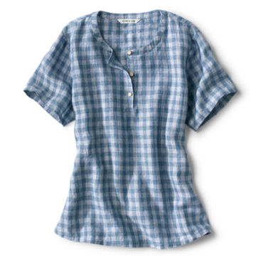 Plaid Lightweight Linen Short-Sleeved Sweetwater®  Popover - BLUE/WHITE image number 0