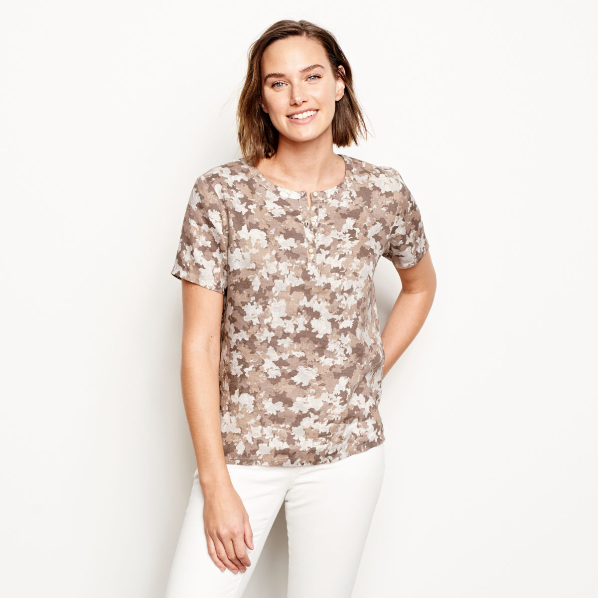 Printed Lightweight Linen Short-Sleeved Sweetwater®  Popover - image number 0