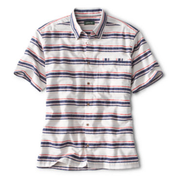 Horizontal Stripe Short-Sleeved Shirt -