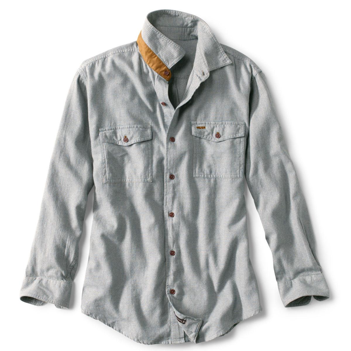 Fairbanks Heathered Houndstooth Long-Sleeved Flannel Shirt - BLUEimage number 0