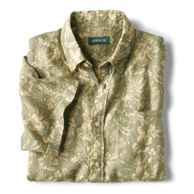 Linen Island-Print Short-Sleeved Shirt -  image number 2