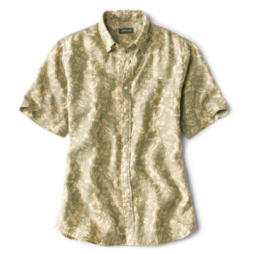 Linen Island-Print Short-Sleeved Shirt -