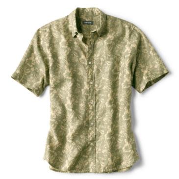 Linen Island-Print Short-Sleeved Shirt -