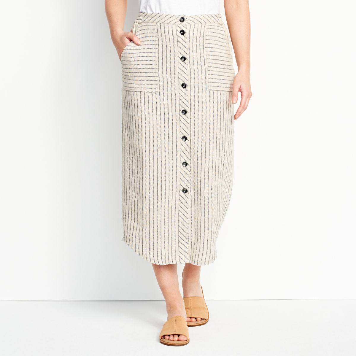 Orvis Performance Linen Striped Button-Front Skirt - image number 0