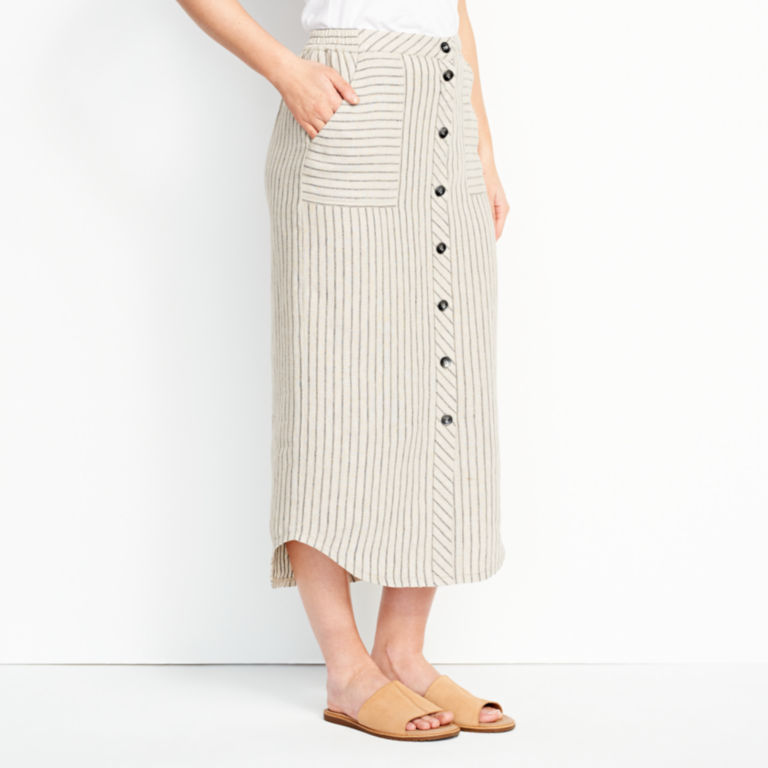 Orvis Performance Linen Striped Button-Front Skirt -  image number 1