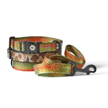 Trout & Camo Print Dog Collar & Leash -