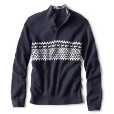 Nordic Chest Stripe Quarter-Zip Sweater -