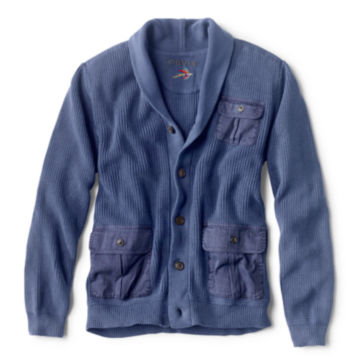 Garment-Dyed Shawl Cardigan - INDIGO image number 0