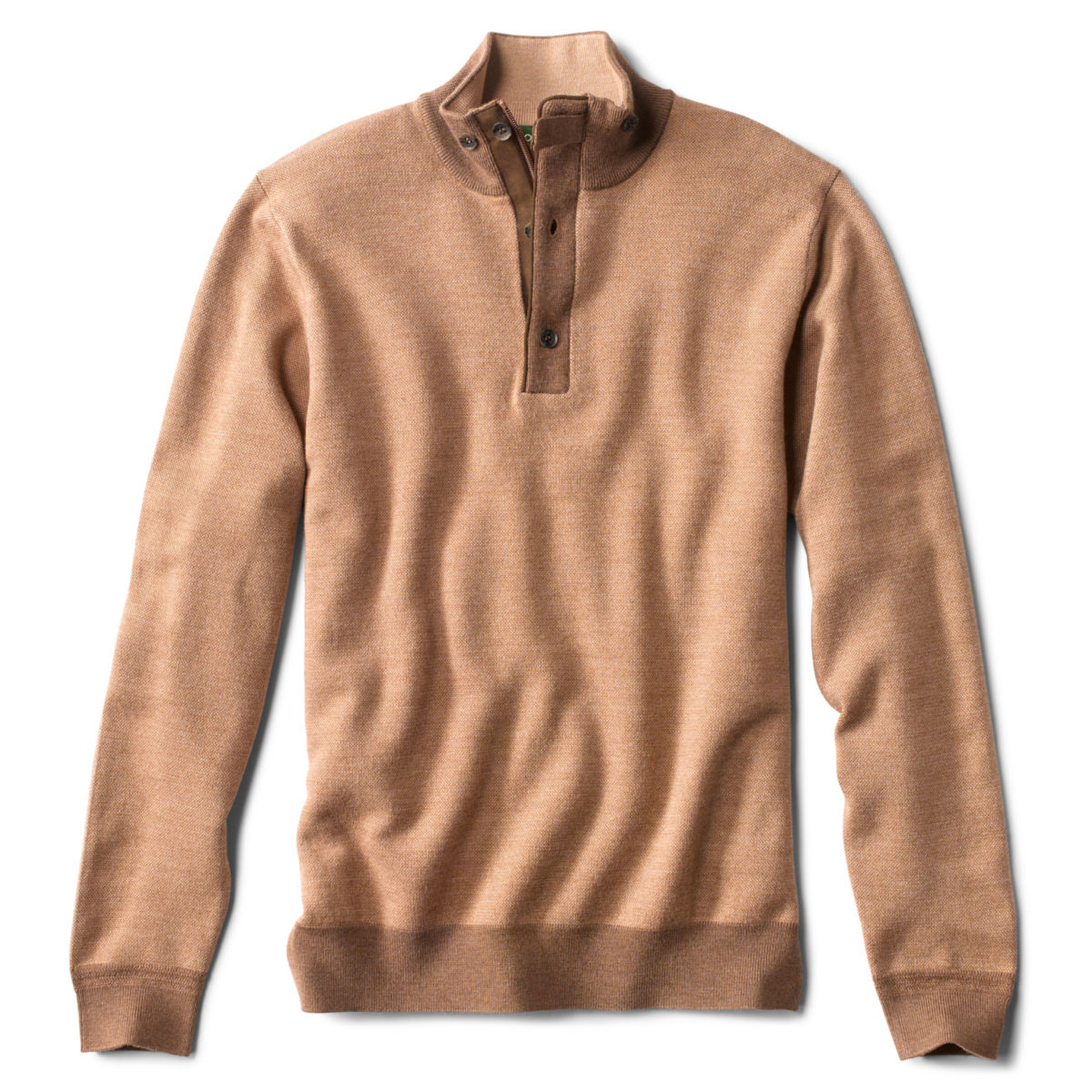 Birdseye Zip Button Mockneck Sweater - image number 0