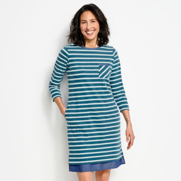 Mixed Media Classic Cotton Striped Dress -