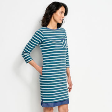 Mixed Media Classic Cotton Striped Dress -  image number 1