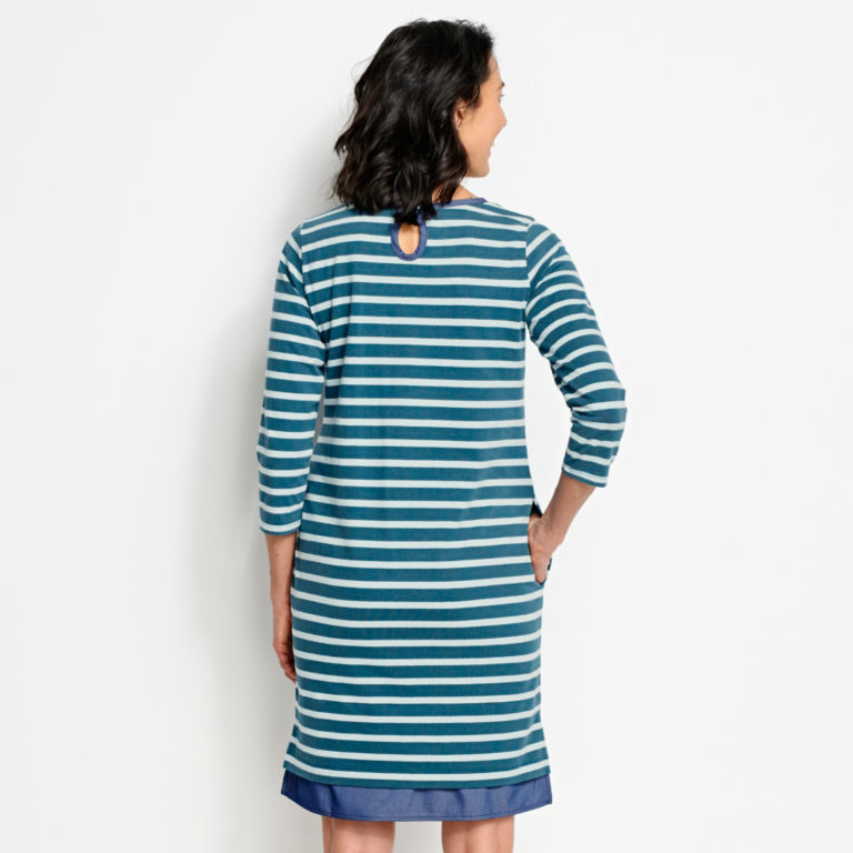 Mixed Media Classic Cotton Striped Dress -  image number 2