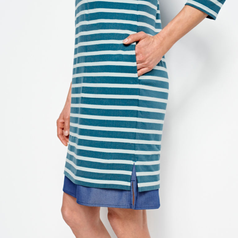 Mixed Media Classic Cotton Striped Dress -  image number 4